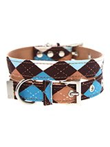 Brown & Blue Argyle Collar - Our Brown Argyle Collar is a traditional Scottish design which represents the Clan Campbell of Argyll in western Scotland. It is stylish, classy and never goes out of fashion. Used for kilts and plaids, and for the patterned socks worn by Scottish Highlanders since at least the 17th century. It is l...